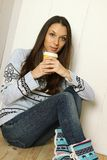 Attractive young woman at home Royalty Free Stock Photo