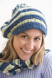 Attractive Young Woman In A Knit Cap Stock Photography