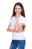Attractive young woman in jeans Royalty Free Stock Image