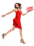 Attractive young woman jumping Royalty Free Stock Photos