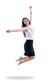 Attractive young woman jumping in the air. Attractive young asian woman jumping in the air, Isolated over white stock photos