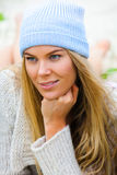 Attractive Young Woman With Knit Cap stock image