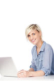 Attractive Young Woman With Laptop Stock Photos