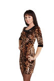 Attractive young woman in leopard dress Royalty Free Stock Photo