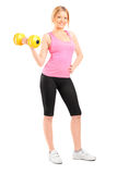 An attractive young woman lifting a dumbbell Stock Photos