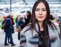 attractive young woman long beautiful hairs posing flower greenhouse keukenhof park 69482304
