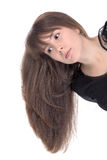 Attractive young woman with long brunette hair Royalty Free Stock Images