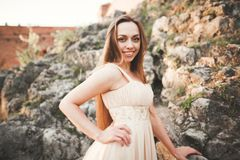 Attractive young woman in long dress standing on the rocks stock photos