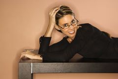 Attractive Young Woman Looking Over Her Glasses Sm Royalty Free Stock Image