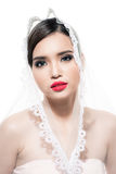 An attractive young woman with makeup on her face. Romantic youn Royalty Free Stock Photography
