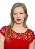 Attractive young woman making expression Royalty Free Stock Photography