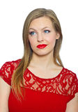 Attractive young woman making expression Royalty Free Stock Photos