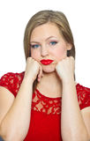 Attractive young woman making expression Royalty Free Stock Image