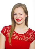 Attractive young woman making expression Royalty Free Stock Photo