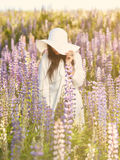 Attractive young woman and meadow Stock Images