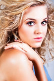 Attractive Young Woman Model With Wind Blown Hair Stock Images