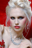 Attractive young woman in Moulin Rouge style Royalty Free Stock Photography