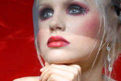 Attractive young woman in Moulin Rouge style Stock Images