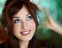 Attractive Young woman music bokeh Royalty Free Stock Photo