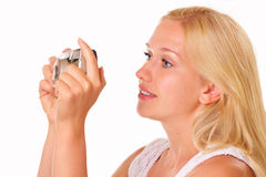 Attractive young woman with an old camera Royalty Free Stock Photos