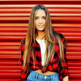 Attractive young woman outdoor fashion portrait Royalty Free Stock Photos