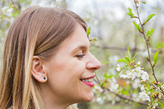 Attractive young woman outdoor, springtime Royalty Free Stock Photography