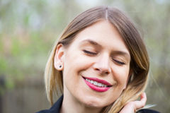 Attractive young woman outdoor, springtime Stock Photography