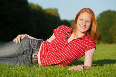 An attractive young woman outdoors Royalty Free Stock Images