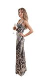 Attractive young woman in party dress. Drinking champagne isolated white Royalty Free Stock Photos