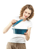 Attractive young woman peeping in saucepan Stock Photos