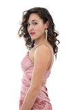 Attractive young woman in pink dress royalty free stock photography