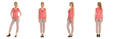 Attractive young woman in pink pants isolated over white Stock Images
