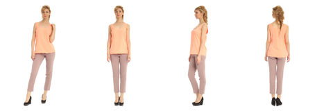 Attractive young woman in pink pants isolated over white Stock Photo