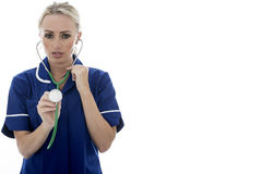 Attractive Young Woman Posing As A Doctor or Nurse Stock Image