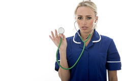 Attractive Young Woman Posing As A Doctor or Nurse In Theatre Sc Royalty Free Stock Photo