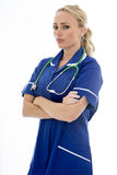 Attractive Young Woman Posing As A Doctor or Nurse In Theatre Sc Stock Images