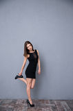 Attractive young woman posing in black dress Stock Photography