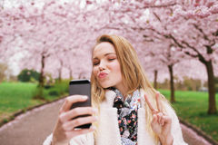 Attractive young woman posing for selfie Royalty Free Stock Photo
