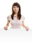 Attractive young woman with a poster on an isolated white Stock Photos