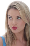 Attractive Young Woman Pursed Lips Royalty Free Stock Photography