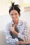 Attractive young woman in pyjama Stock Image