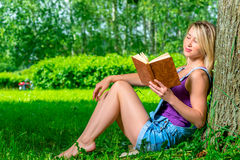 Attractive young woman reading a novel in the park Royalty Free Stock Photography