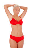 Attractive young woman in red bikini Stock Photo