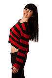 Attractive young woman in red and black sweater Stock Images