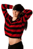 Attractive young woman in red and black sweater Royalty Free Stock Photo