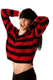 Attractive young woman in red and black sweater Stock Image