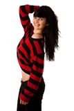 Attractive young woman in red and black sweater Royalty Free Stock Photos