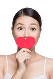 Attractive young woman with red heart. Valentine`s day art portr Royalty Free Stock Photos