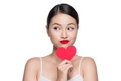 Attractive young woman with red heart. Valentine`s day art portr Stock Photography