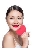 Attractive young woman with red heart. Valentine& x27;s day art portr Stock Photo